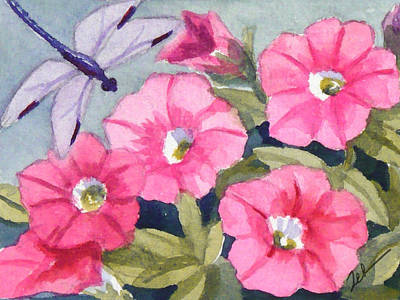 Painting - Blue Dragonfly And Petunias by Janet Zeh