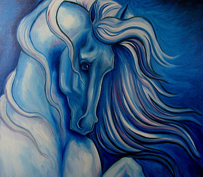 Windblown Painting - Blue Drama by Leni Tarleton