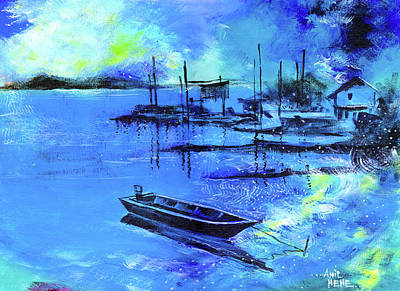 Indigo Drawing - Blue Dream 2 by Anil Nene
