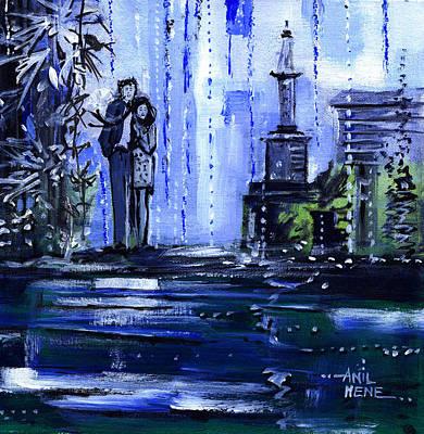 Beautiful Scenery Painting - Blue Dream by Anil Nene
