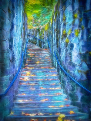 Mixed Media - Blue Dream Stairway by Frank Lee Hawkins