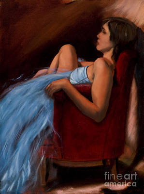 Painting - Blue Dress - 2009 by Serena Van Vranken