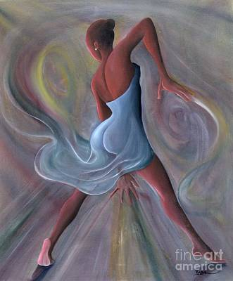Contemporary Black Art Painting - Blue Dress by Ikahl Beckford