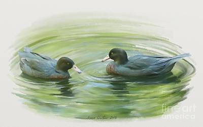 Painting - Blue Ducks  by Ivana Westin