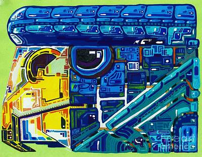 Painting - Blue Eagle Train Of Thoughts Included by Felipe Perez