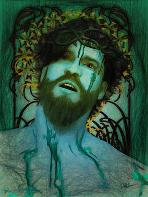 Crucifix Art Painting - Blue Ecce Homo by Joaquin Abella
