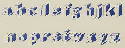 Blue Egyptian Font Art Print by English School