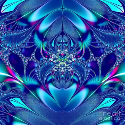 Digital Art - Blue Elegance Fractal 2 by Rose Santuci-Sofranko
