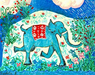 Blue Elephant Facing Right Art Print by Sushila Burgess