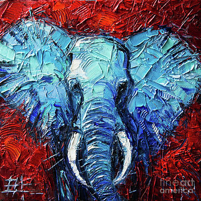 Blue Elephant Palette Knives Impasto Abstract Oil Painting Original