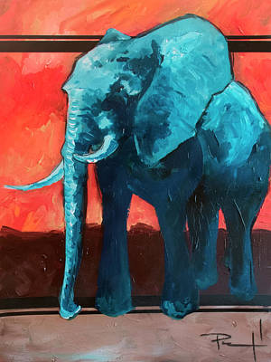 Painting - Blue Elephant by Sean Parnell