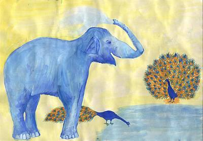 Elephants Painting - Blue Elephant Squirting Water In Progress by Sushila Burgess
