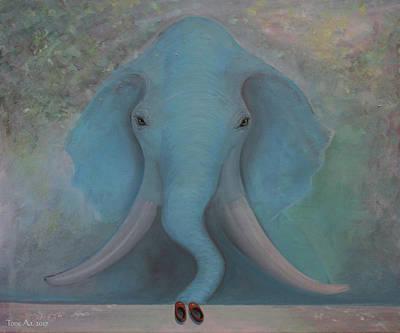 Painting - Blue Elephant by Tone Aanderaa