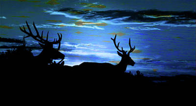 Mixed Media - Blue Elk Dreamscape by Mike Breau