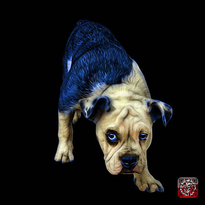 Painting - Blue English Bulldog Dog Art - 1368 - Bb by James Ahn