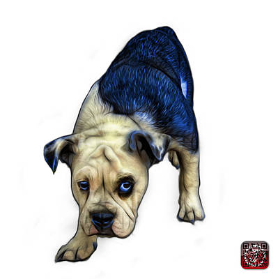 Painting - Blue English Bulldog Dog Art - 1368 - Wb by James Ahn