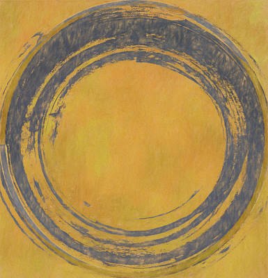 Painting - Blue Enso On Orange by Dan Sproul