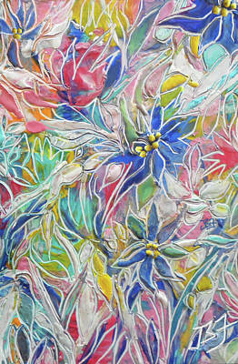 Painting - Blue Etched Flowers by Jean Batzell Fitzgerald
