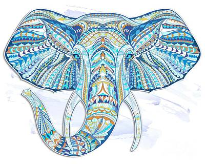 Painting - Blue Ethnic Elephant by Aloke Creative Store