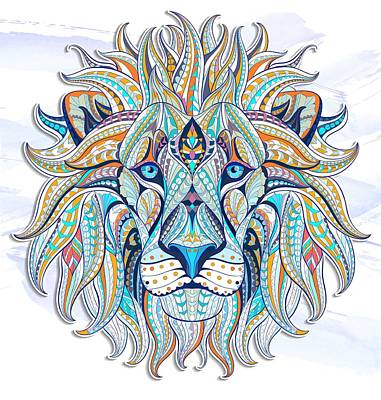 Painting - Blue Ethnic Lion by Aloke Creative Store