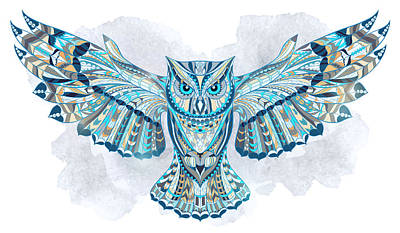 Painting - Blue Ethnic Owl by Aloke Creative Store