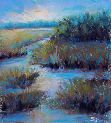 Pastel - Blue Evening Marsh by Susan Jenkins