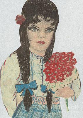 Blue Eyed Black Haired Girl Art Print
