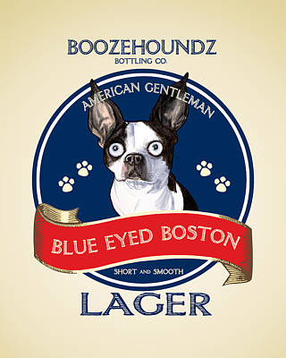 Drawing - Blue Eyed Boston Lager by John LaFree