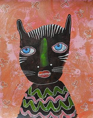 Primitive Raw Art Painting - Blue Eyed Cat by Bea Roberts