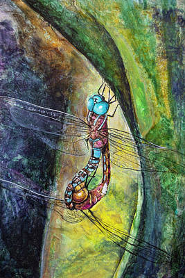 Painting - Blue-eyed Darner Mating Wheel by Rick Mosher