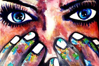 Abstract Airplane Art - Blue eyed girl by Kimberly Dawn Clayton