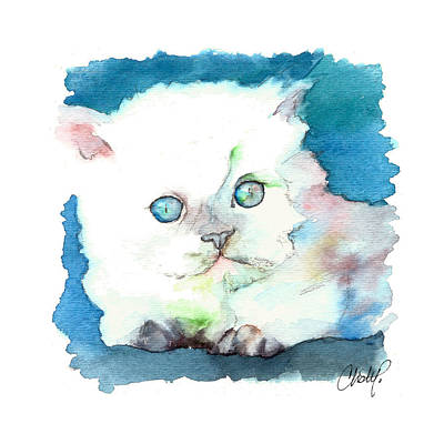 Painting - Blue Eyed Kitten by Christy  Freeman