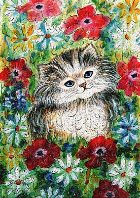 Painting - Blue Eyed Kitten In Garden by Natalie Holland