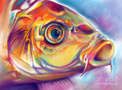 Undersea Digital Art - Blue-eyed Koi by Julianne Black