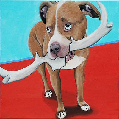 Blue Eyed Pitbull Loves Antlers Original by Lauren Hammack