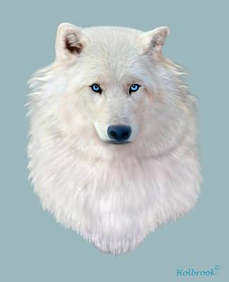 Four-legged Friends Digital Art - Blue-eyed Snow Wolf by Glenn Holbrook
