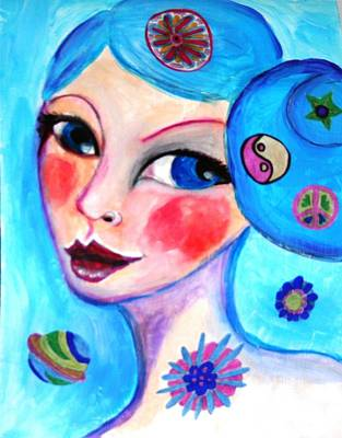 Blue Eyed Woman Art Print