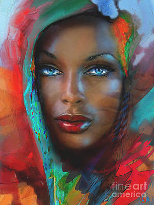 Portrait Painting - Blue Eyes 2  by Angie Braun