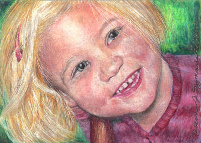 Drawing - Blue Eyes And A Smile by Melissa J Szymanski