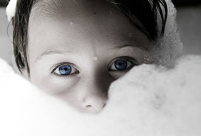 Photograph - Blue Eyes And Bubbles by Lorraine Devon Wilke