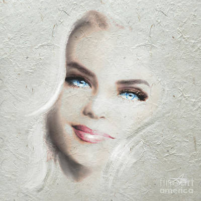 Portrait Painting - Blue Eyes Blond  by Angie Braun