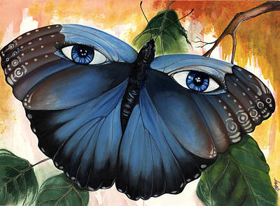 African-american Mixed Media - Blue Eyes Butterfly by Anthony Burks Sr