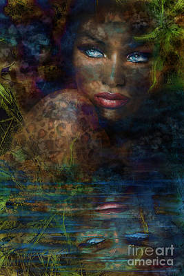 Portrait Painting - Blue Eyes Jungle by Angie Braun