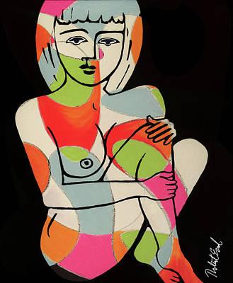Blue Eyes Nude Female Pose Painting By Robert Erod Print Art Print