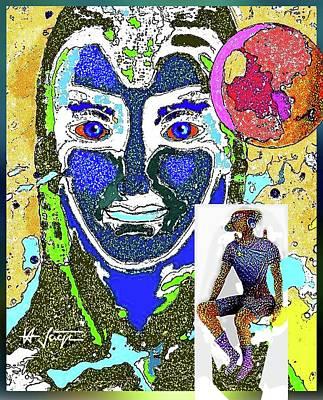 Digital Art - Blue Face by Hartmut Jager