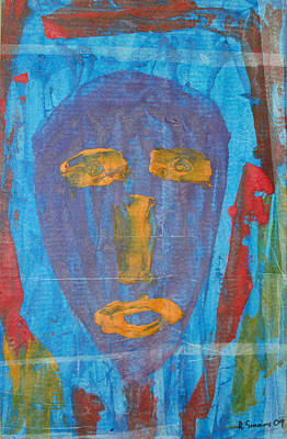 Mixed Media - Blue Face I by Russell Simmons