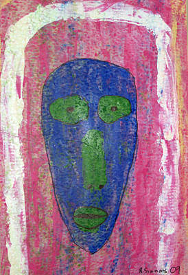 Mixed Media - Blue Face II by Russell Simmons