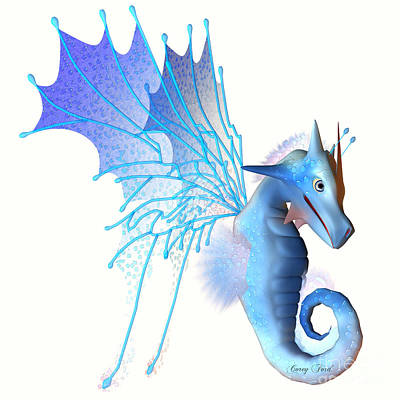 Blue Faerie Dragon Art Print by Corey Ford