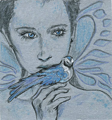 Fantasy Drawings - Blue Fairy with Blue Bird by Katherine Nutt