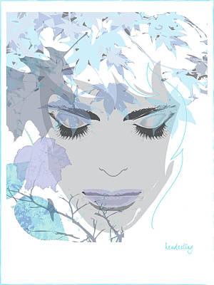 Bird Woman Falls Digital Art - Blue Fall by Lisa Henderling